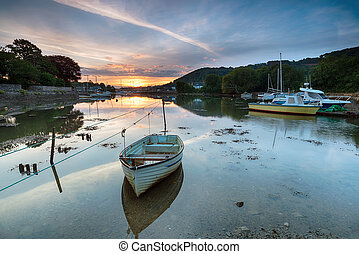 Sunrise on the creek at Millbrook on the Cornwall coast