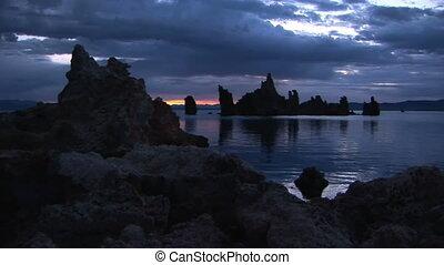 Sunrise at Mono Lake - Tufa formations at Mono Lake,...