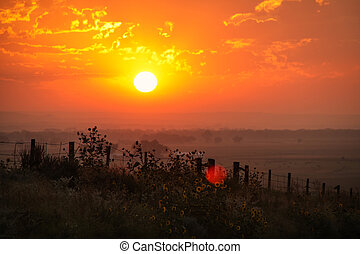 Sunrise at North Platte River valley, western Nebraska, USA