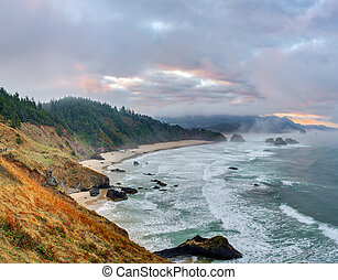 Sunrise at park Ecola State Park