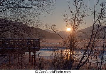 Sunrise at Potter Marsh, Anchorage - A beautiful sunrise...