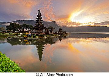 Sunrise at Pura Ulun Danu Bratan in Bedugul Bali Indonesia