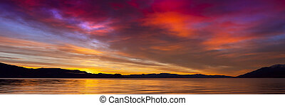 Sunrise at Pyramid Lake, Nevada. Striking vivid colors in the sky.