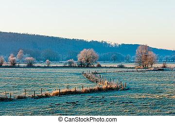Sunrise at Ruhrwiesen in Schwerte, Germany