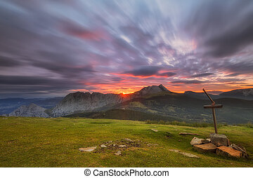 Sunrise at Saibigan peak in Urkiola Natural Park