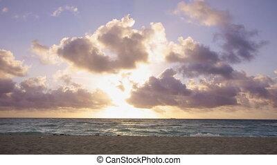 sunrise at south beach in miami, florida