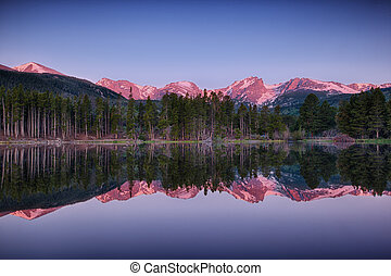sunrise at Sprague lake, Rocky Mountain National Park,...