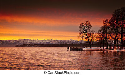 Sunrise at Starnberg lake