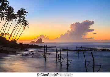 Sunrise at the beach in Sri Lanka
