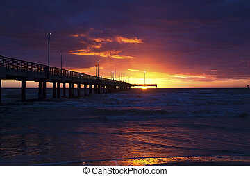 Sunrise at the Fishing Pier in Texas, Gulf of Mexico