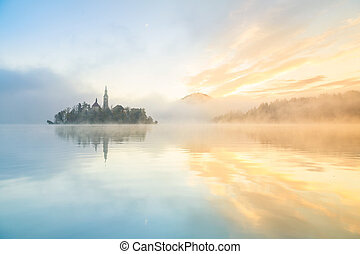 Sunrise at the lake Bled, Slovenia