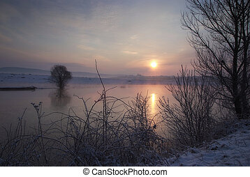 Sunrise at the lake in Ukraine