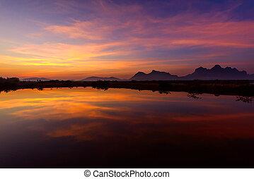 Sunrise at the lake / lake view in sunrise time