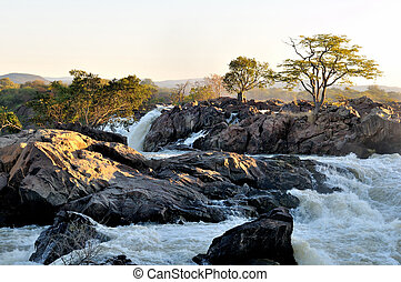Sunrise at the Ruacana Falls Namibia