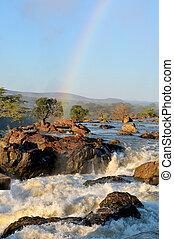 Sunrise at the Ruacana waterfall, Namibia