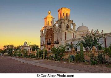 Sunrise at the San Xavier Mission Church in Tucson