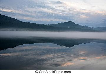 Sunrise at the Teletskoye lake