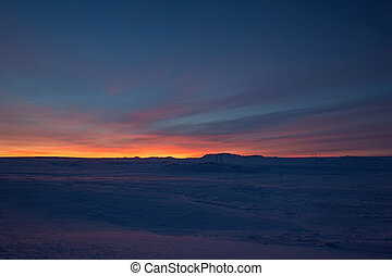 Sunrise at Valley Haukadalur, Iceland, near Raykiavik.