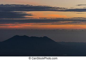 sunrise at volcanic mountain