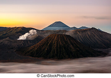 Sunrise at volcano Mount Bromo, early