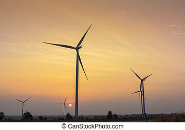 Sunrise at wind generator farm