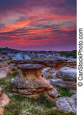 Sunrise at Writing on Stone Provincial Park in Alberta, Canada