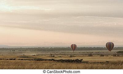 Sunrise Balloons Over Masai Mara During Migration