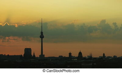 Sunrise Berlin - Timelapse of a sunrise over the skyline of...