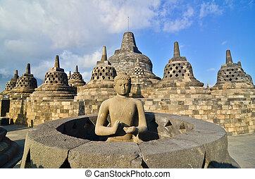 Sunrise Borobudur Temple Stupa in Yogyakarta, Java,...