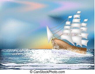 Sunrise card with sailing vessel , vector illustration
