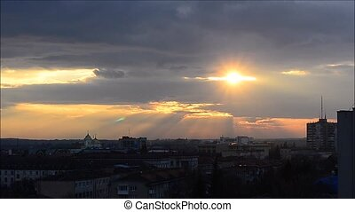 Sunrise city skyline Timelapse background