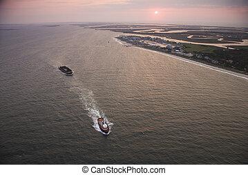 Sunrise coastal aerial.