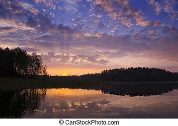 Sunrise. - Colorful sunrise over the lake, aRGB.