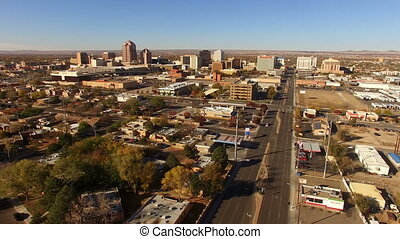 Sunrise Comes Albuquerque New Mexico Downtown City Skyline -...