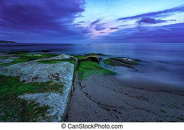 sunrise., długa ekspozycja, przed, motyw morski, magia, błękitny