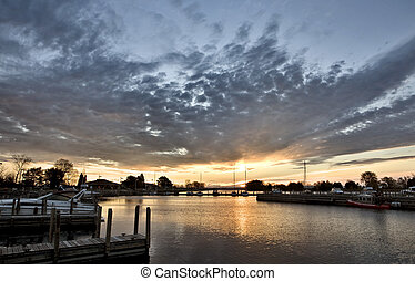 Sunrise Escanaba Michigan Marina Lake Michigan Dawn