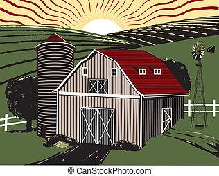Sunrise Farm - A gray barn with farmland and sunrise in the...