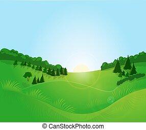 Sunrise, field, forest