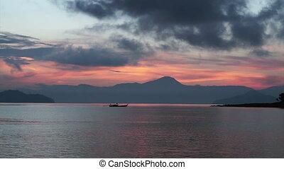 sunrise fishing Sailing boat ocean