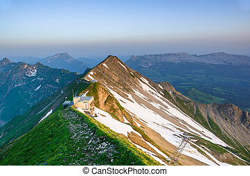 Sunrise from Brienzer Rothorn - Panoramic view of mountain...