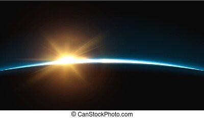 sunrise.., globe, planète, horizon, la terre, atmosphere.