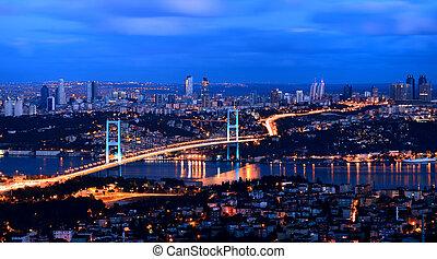 sunrise golden gate bridge and the lights istanbul, Turkey