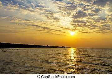 Sunrise golden on beach