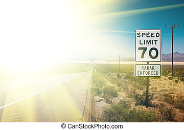 Sunrise highway - Highway road to sunrise. 70 MPH speed ...
