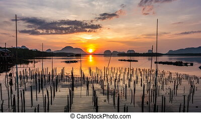 Sunrise in a small fishing village. - Sunrise in a small ...