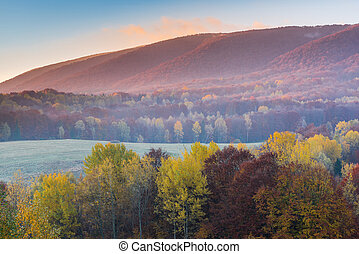 Sunrise in Bieszczady Carpathian Mountains in Poland at autumn