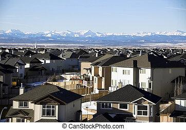 Calgary suburbs - Sunrise in Calgary suburbs looking towards...