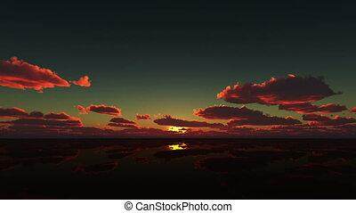 sunrise in calm sea 4k