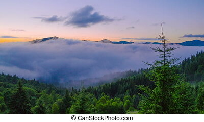 Sunrise in Carpathian Mountains.