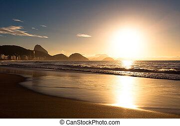 Sunrise in Copacabana Beach